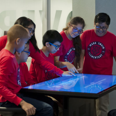 Children using interactive table