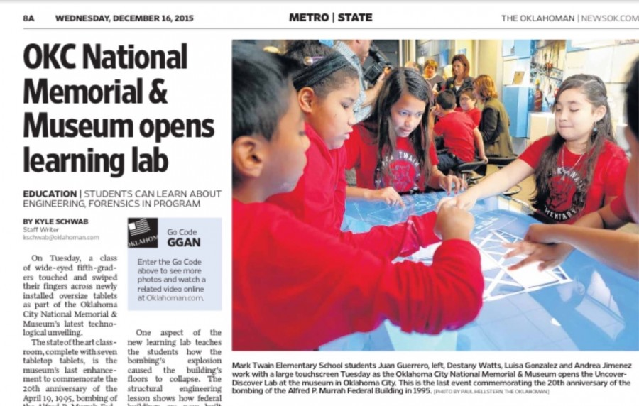 Clipping from The Oklahoman about opening.